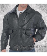 Mens Genuine Black Leather Fully Lined Bomber Jacket Snap Closures at Wr... - $27.99+