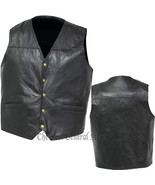 Mens Black Leather Concealed Carry Weapon Gun Vest with Holster 5-Snap C... - $19.99