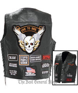 Mens Black Leather Concealed Carry Biker Vest with 16 Patches and Laced ... - $36.99+