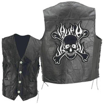 Black Leather Biker Vest with Flaming Skull and Crossbones Patch Goth Pu... - $24.99