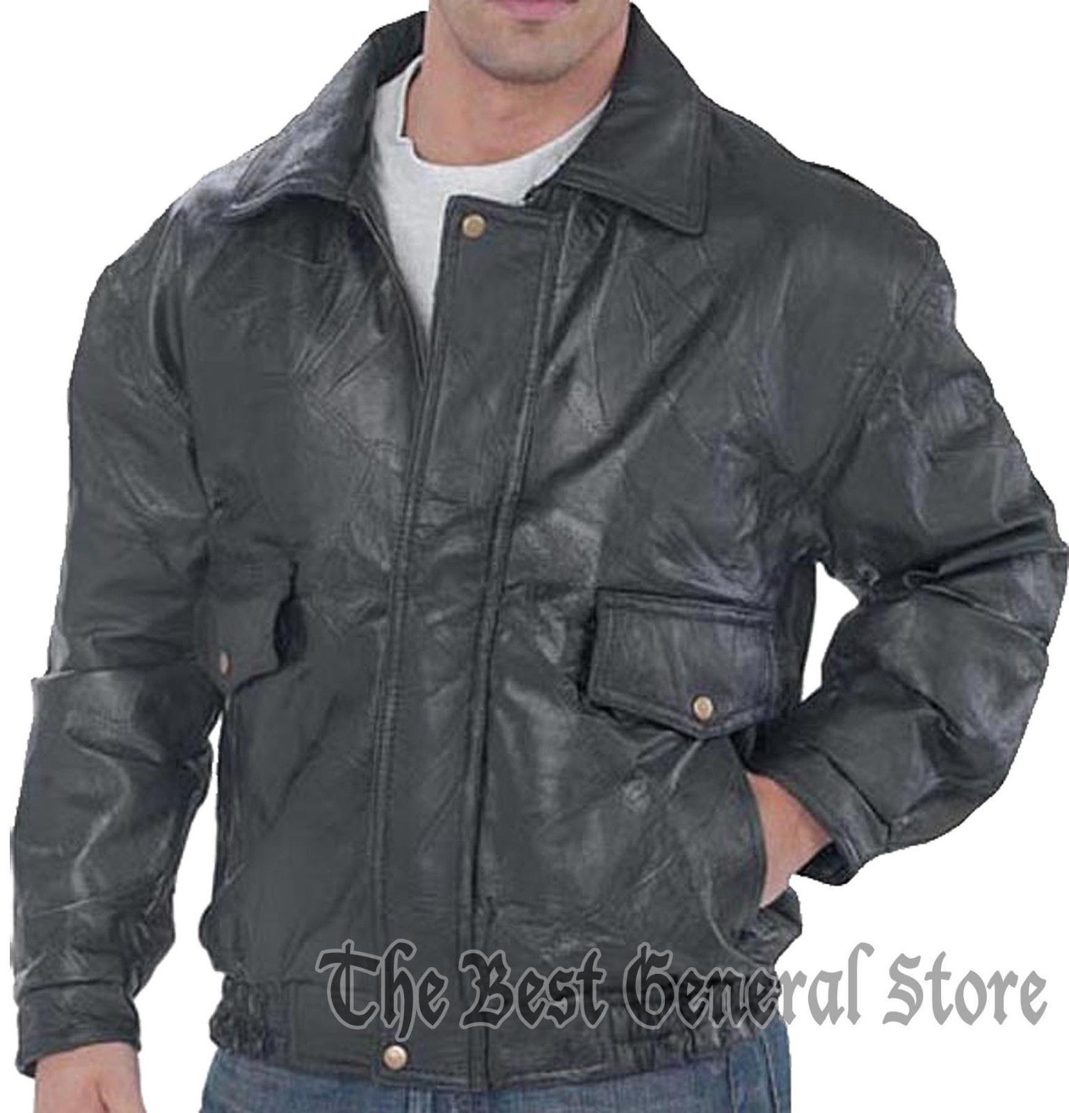 Mens Genuine Black Leather Fully Lined Bomber Jacket Snap Closures at Wrists
