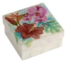 Kubla Crafts Capiz Shell Tropical Flower Large Trinket Box - $12.99