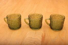 3 Anchor Hocking Soreno Green Cups Mugs Vintage... - $23.36
