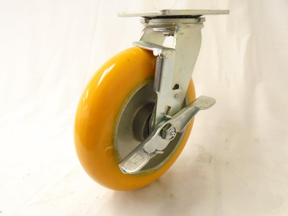 "Primary image for 8"" x 2"" Swivel Caster with Brake Polyurethane on Aluminum 1800 lbs. Each"