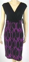 AGB Jewel Tone Black Purple Sleeveless Empire Waist Dress Size 6 New 9486 - $19.79