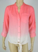 INC Strawberry Pink Linen 3/4 Sleeve Shirt Blou... - $19.79