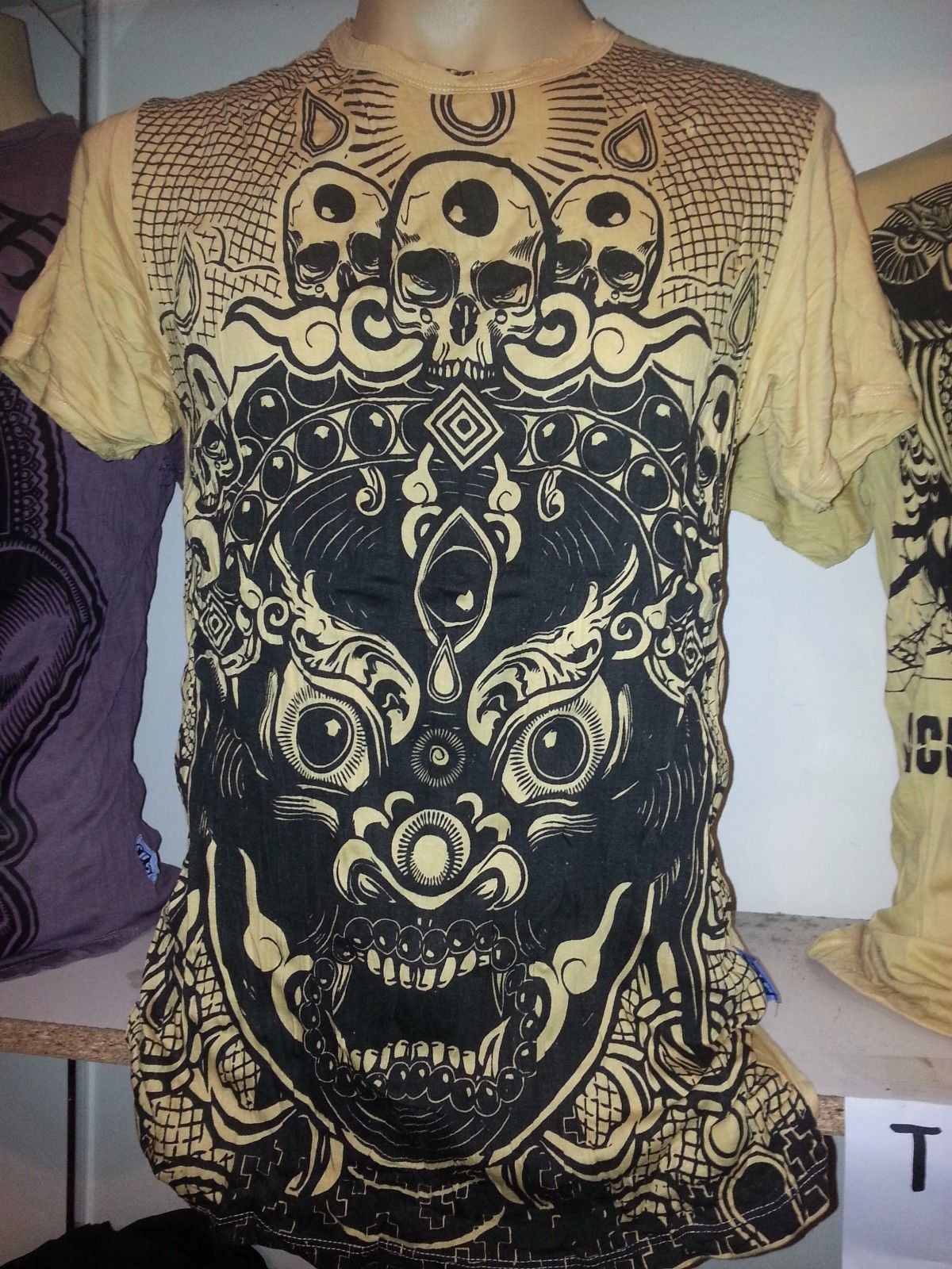 Primary image for Yoga Men T Shirt short sleeve cotton Mask Demon Bali  tattoo India Om L Sure ra