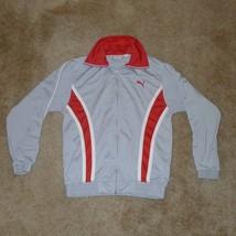 PUMA, Men's Track Jacket, Gray & Red, Large - $13.67