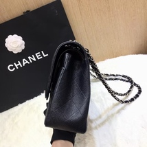 AUTHENTIC NEW CHANEL BLACK CAVIAR QUILTED JUMBO DOUBLE FLAP BAG SILVER HARDWARE image 9