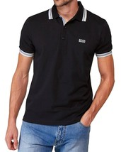 New Hugo Boss Men's Premium Cotton Green Tag Sport Polo Shirt T-Shirt Black