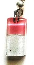 Glass Earrings - Pink & White - Handmade Mini Rectangle Drop Dangle Pair - $18.99