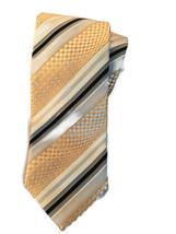 Ermenegildo Zegna Tie Gold Geometric Silk Blend Cotton Necktie Z - $35.59