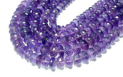 "Primary image for fine natural amethyst gemstone 6-8mm rondelle faceted loose beads 8"" strand"