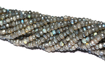 "Primary image for 20 STRAND LOT COATED LABRADORITE 3-4MM RONDELLE FACETED LOOSE BEADS 13"" STRAND"