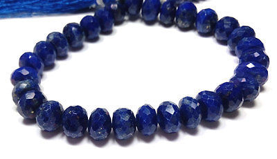 "Primary image for fine natural lapis lazuli gemstone 6-8mm rondelle faceted loose beads 8"" strand"