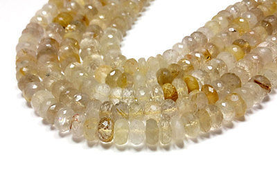 "Primary image for fine natural golden rutile quartz 6-8mm rondelle faceted loose beads 8"" strand"