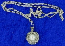 Bird Nest Egg Necklace Imitated Pearl Chain Length Choice - $5.99+