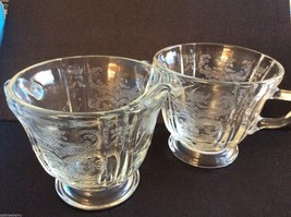 VTG Reproduction Indiana Recollection Madrid Glass open Sugar & Creamer set - $24.75