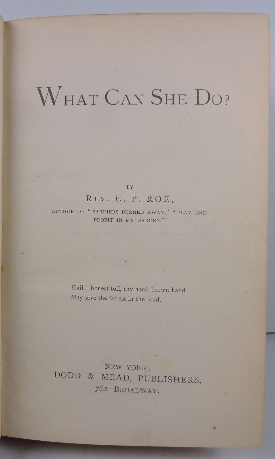 What Can She Do? by Rev. E. P. Roe 1873