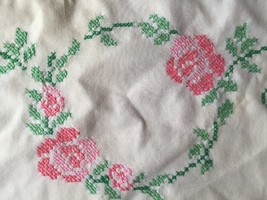 Vintage Cross Stitch Pillowcase White w/ Pink Flowers Rose Floral Shabby... - $8.86