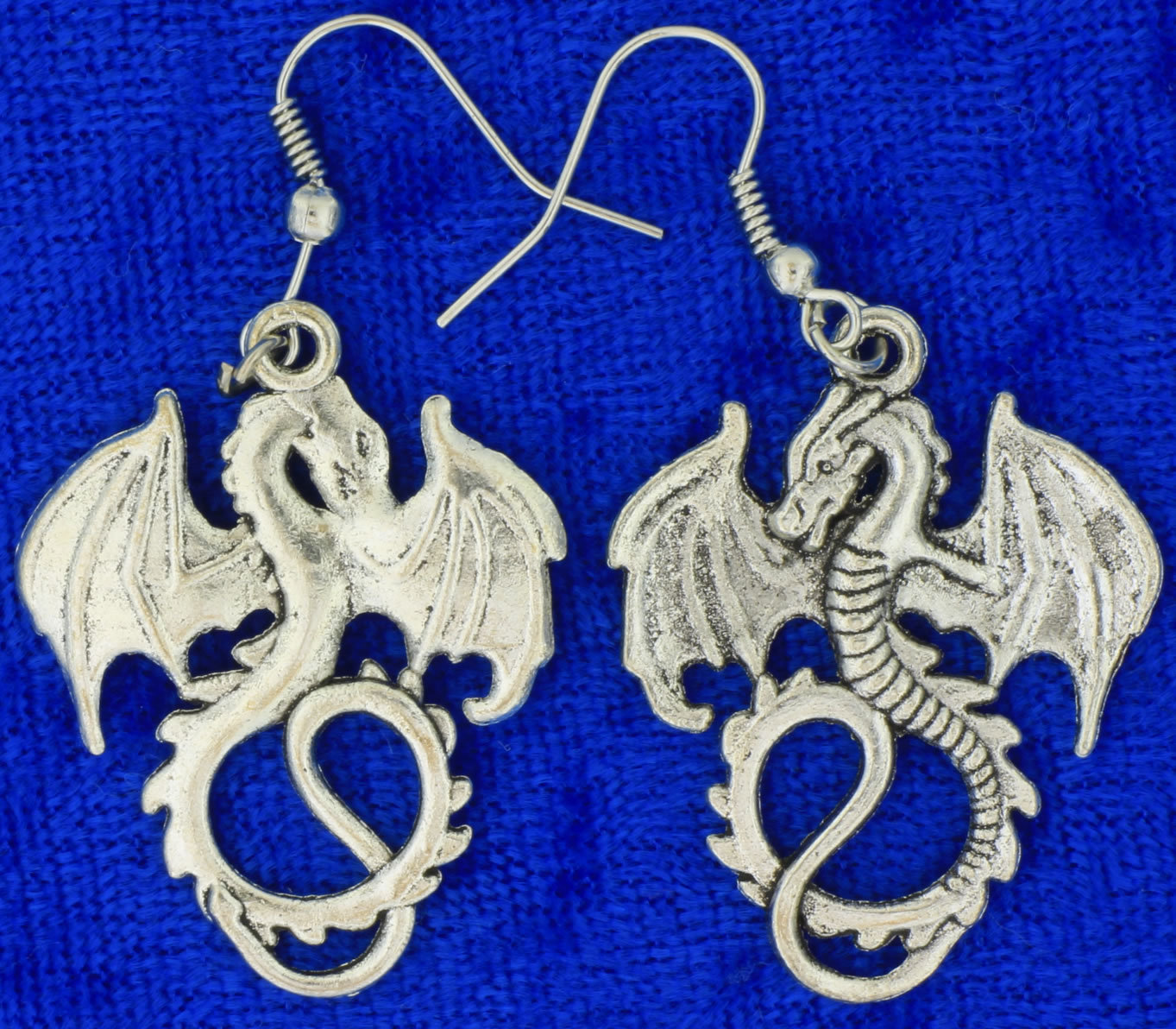 Primary image for World of Warcraft Dragon Earrings (Set of Two) WOW Silver Color