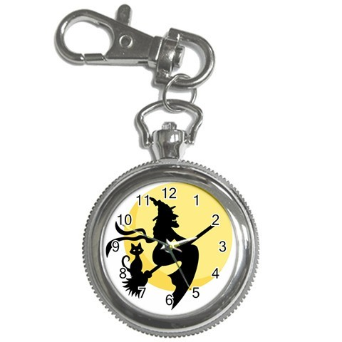 Halloween witch and cat with moon key chain watch