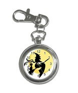 Gift Watch - Halloween Witch Black Cats Bats Full Moon Key Chain Watch - $10.25 CAD