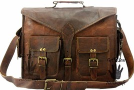 Vintage Leather Messenger Brown Goat Real Laptop Satchel Bag Genuine Bri... - $67.32