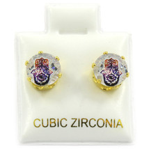 Mens Gold 7mm Round Surgical Steel Clear CZ Hip Hop Hamsa Stud Earrings - $8.90
