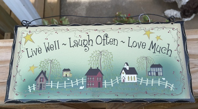 Primary image for 2476LLLG-Live Well Laugh Often Love Much Wood Hanging Sign