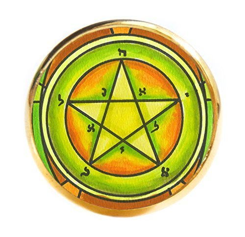 Solomons 1st Pentacle of the Mercury for Personal Magnetism Gold Adjustable Ring
