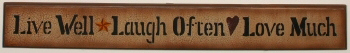 Primary image for  3w9028-Live Well Laugh Often Love Much Wood Hanging Sign