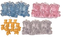 "36 Mini crystal like transparent baby shower bears 7/8"" tall - $3.45"