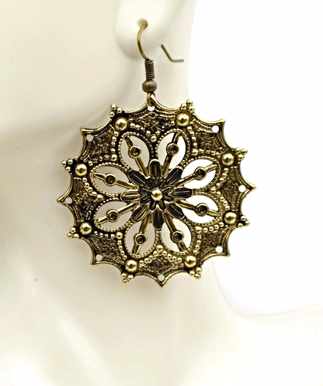 Antiqued Brass Filigree Earrings