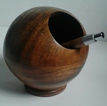 Mid Century Modern Teak or Walnut Planter Pen Holder Danish Style Orb Globe - $18.83