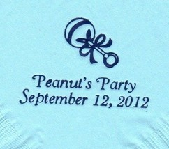 BABY RATTLE LOGO 50 Personalized printed LUNCHEON DINNER napkins - $11.87+