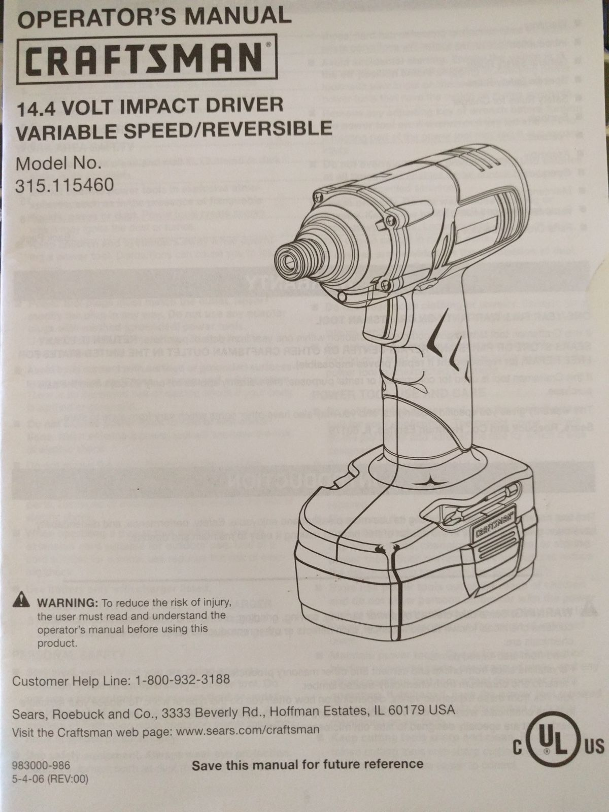 Primary image for SEARS CRAFTSMAN Operator's Manual 14.4 Volt Impact Driver 315.115460 Mint
