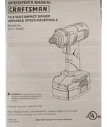 SEARS CRAFTSMAN Operator's Manual 14.4 Volt Impact Driver 315.115460 Mint - $14.84