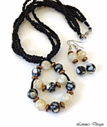 Black and Ivory Necklace and Earrings Set with Mother-of-Pearl Resin Beads - $34.90+