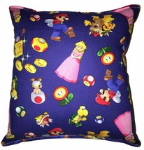 Mario Brothers Pillow HANDMADE Tossed Flanel Nintendo Pillow Made in USA - $10.49