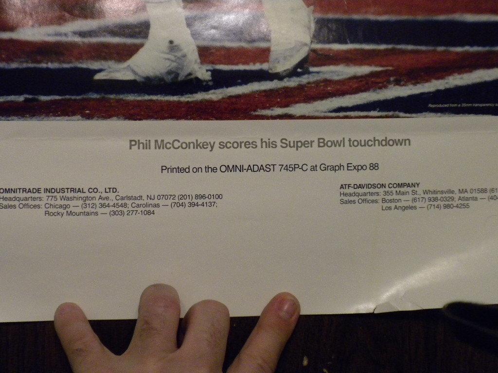 "NEW YORK GIANTS Super Bowl 1987 Phil McConkey TD catch 1988 Poster 19""x 24""  VG"