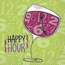 Happy Hour Wine Glass Beverage Napkins 24 ct 2 ply Primer Stylz - $4.36 CAD