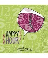 Happy Hour Wine Glass Beverage Napkins 24 ct 2 ply Primer Stylz - $3.51