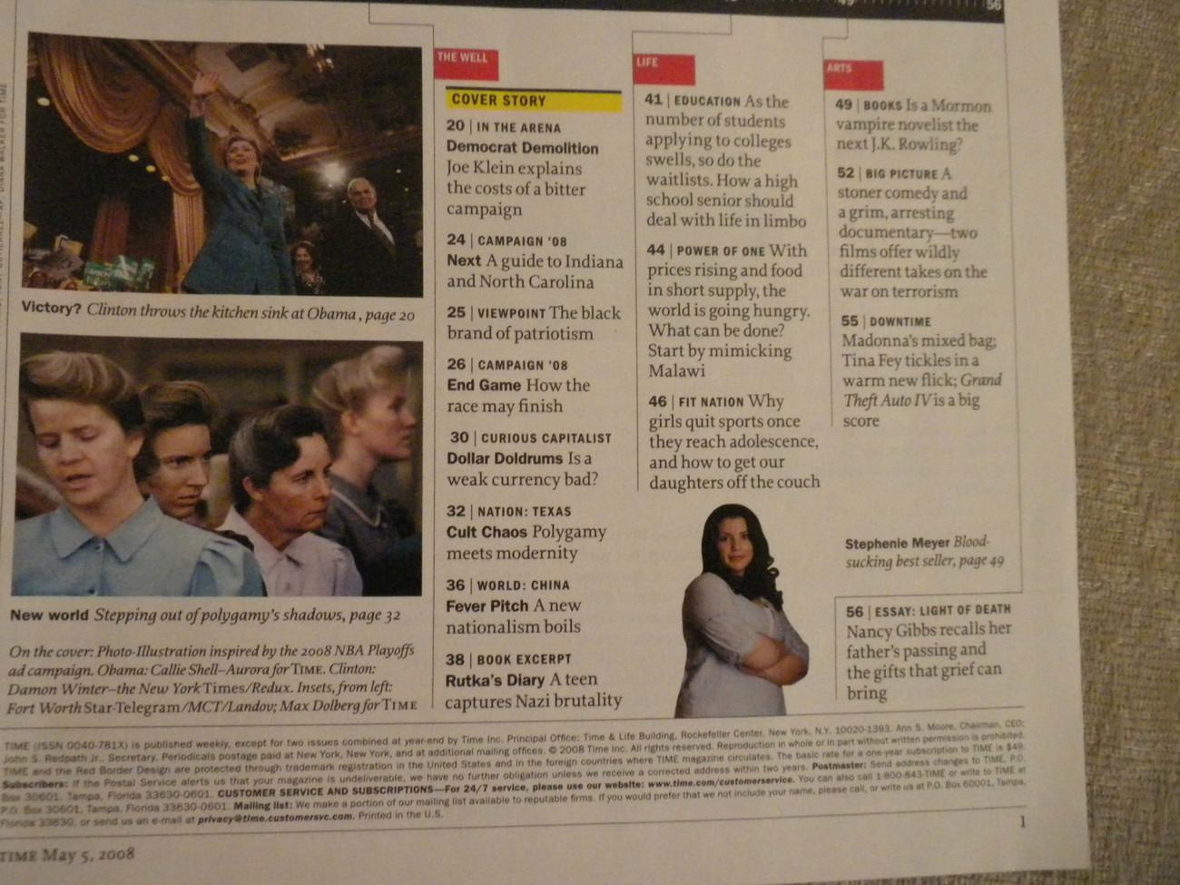 Hillary Clinton & Barack Obama dual cover photo; Stephanie Meyer Time Mag 5/2008