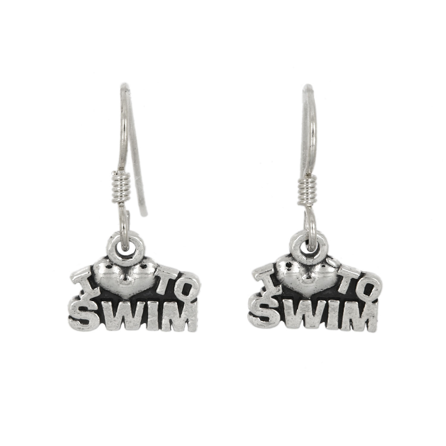 Primary image for STERLING SILVER I LOVE TO SWIM EARRINGS