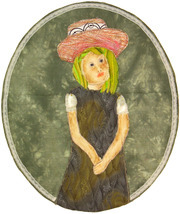 Girl in a Big Hat: Quilted Art Wall Hanging - $335.00
