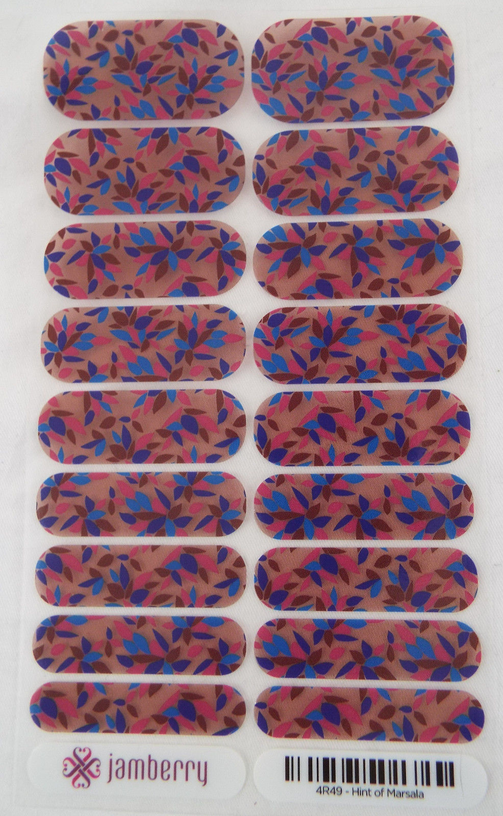 Primary image for Jamberry Hint of Marsala Nail Wrap ( Full Sheet ) 4R49  New in Packaging