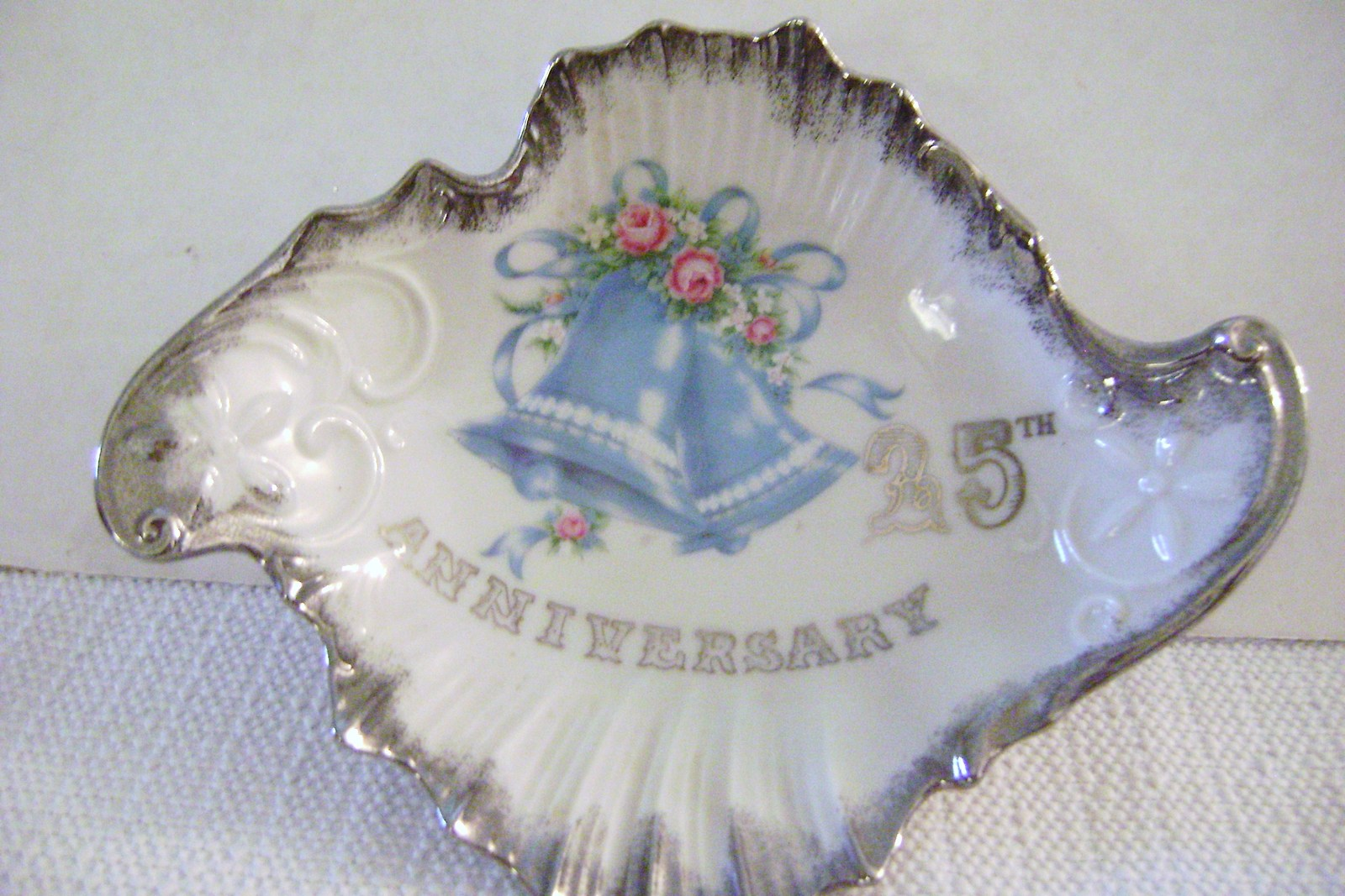 Vintage Norcrest Silver Anniversary  Amoeba shaped Candy Dish