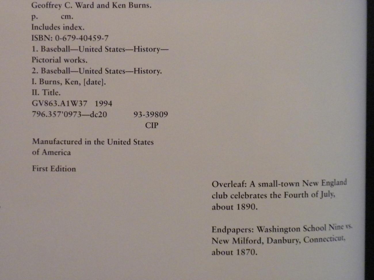Baseball An Illustrated History Geoffrey Ward & Ken Burns Stated 1st Ed HCwDJ 19