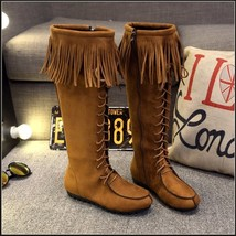 Tassel Fringe Suede Camel Faux Leather Lace Up Zip Up Tall Moccasin Trail Boots